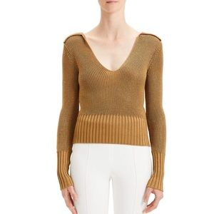 Theory Back-Collar Long-Sleeve Cropped Sweater